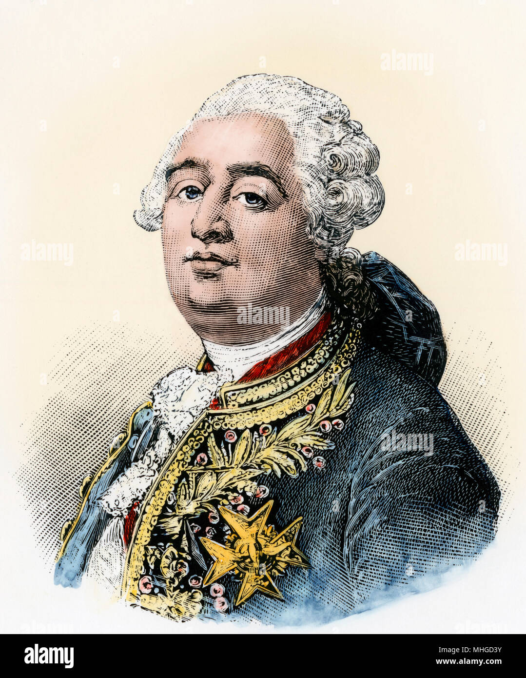 Louis XVI, King of France during the French Revolution. Hand-colored engraving Stock Photo