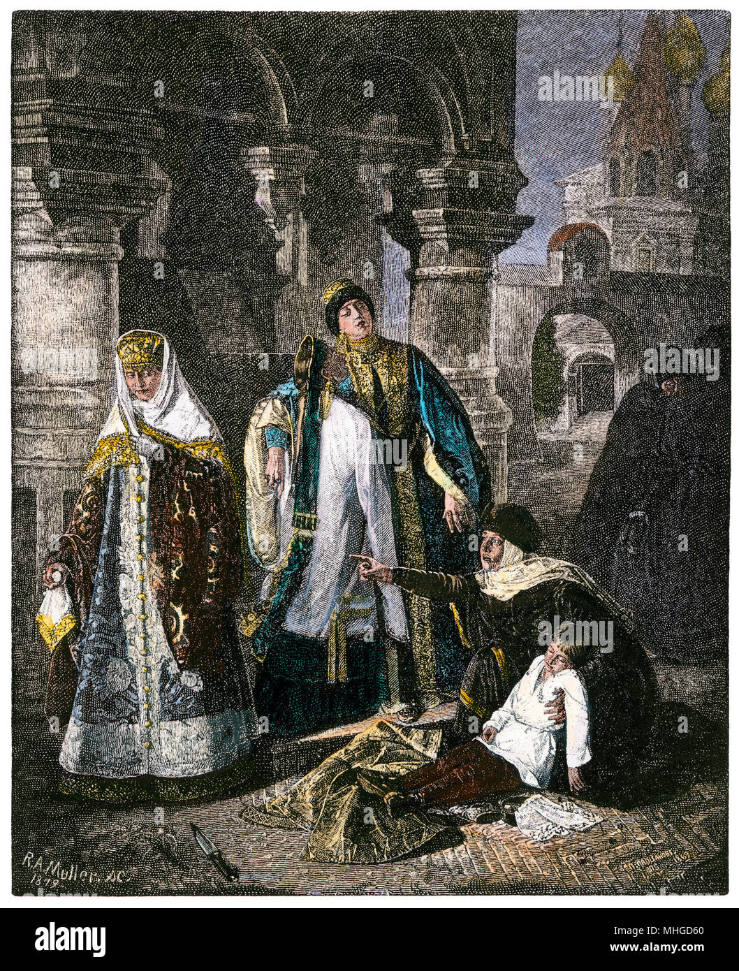 Tsar Ivan IV (the Terrible) after killing his son, Ivan. Hand-colored woodcut - Stock Image