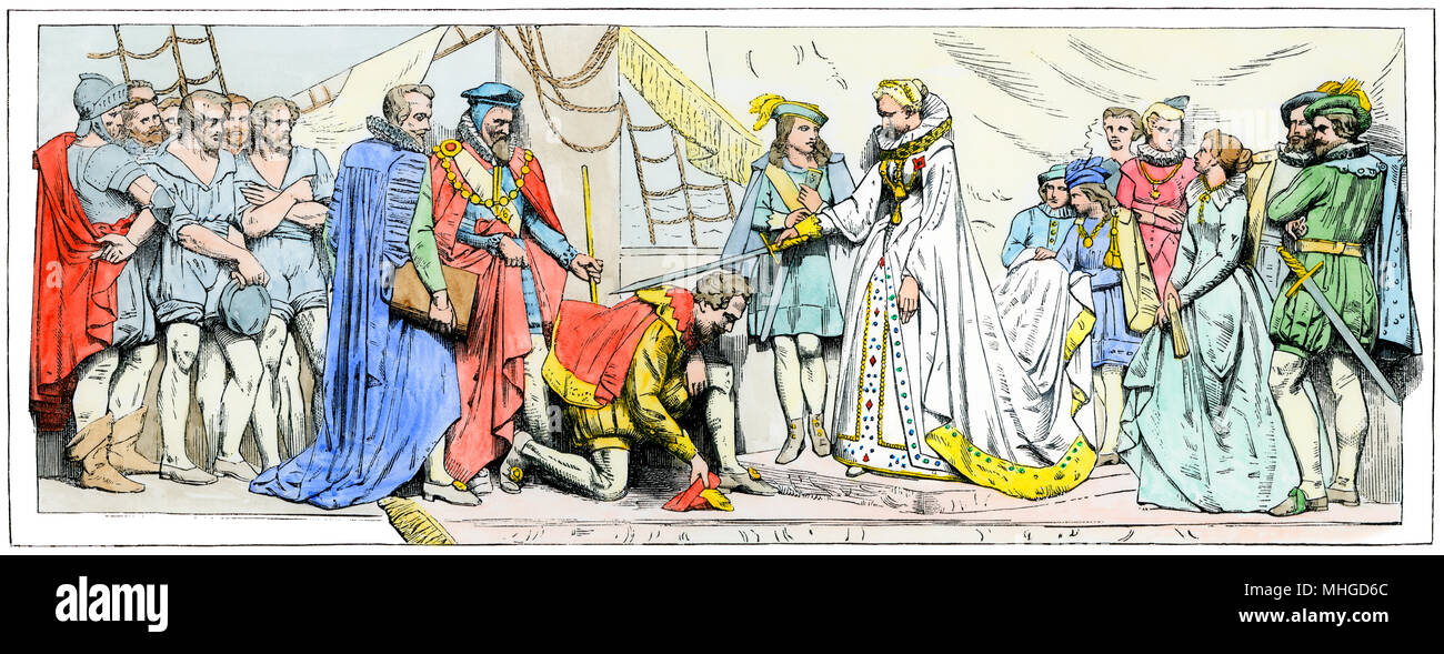 Queen Elizabeth knighting Francis Drake after the Spanish Armada's defeat. Hand-colored woodcut of a bas-relief in the House of Lords - Stock Image