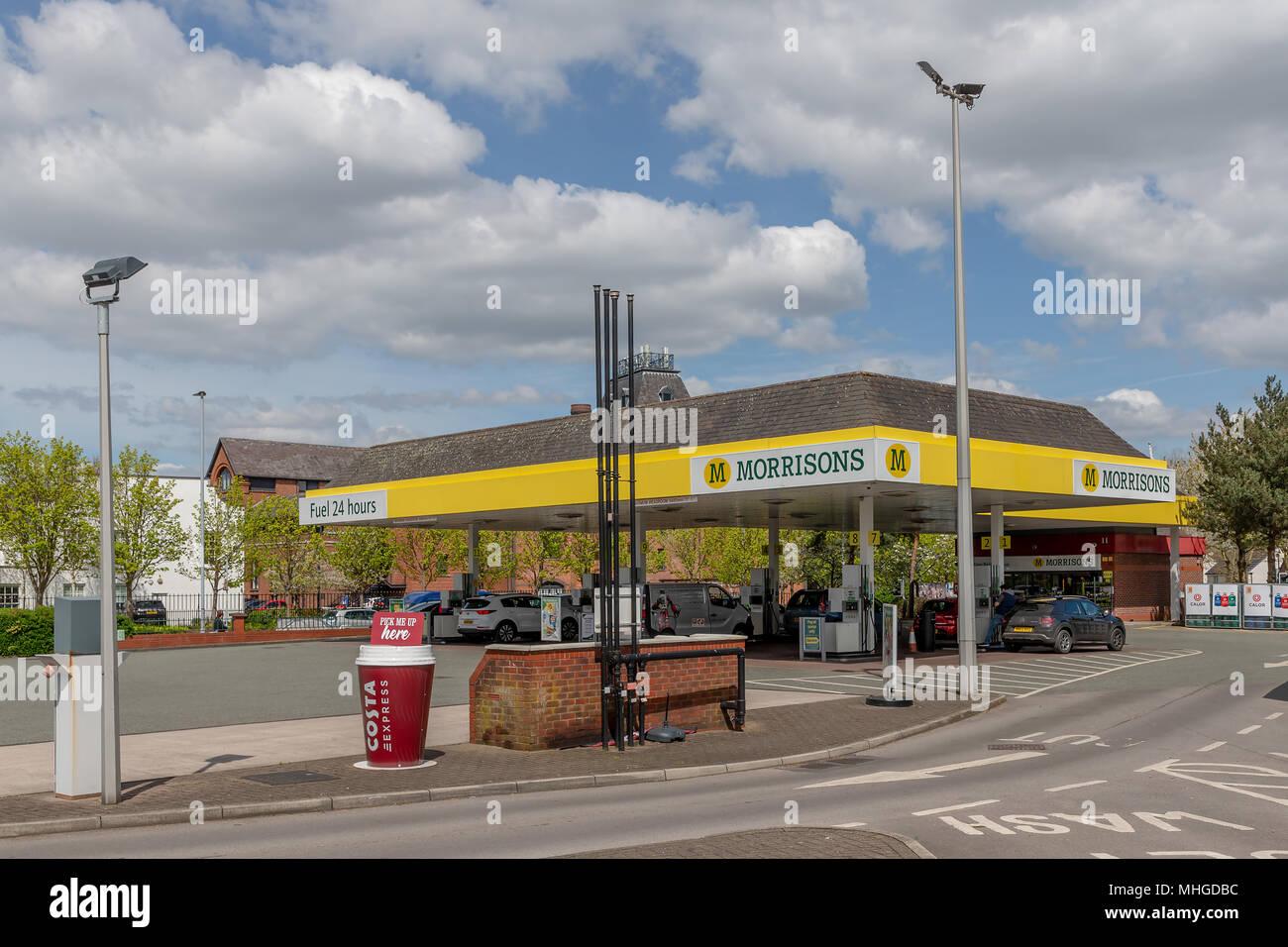 Morrisons supermarket in Stockton Heath, near Warrington, Cheshire, England, UK on 30 April 2018 - Stock Image