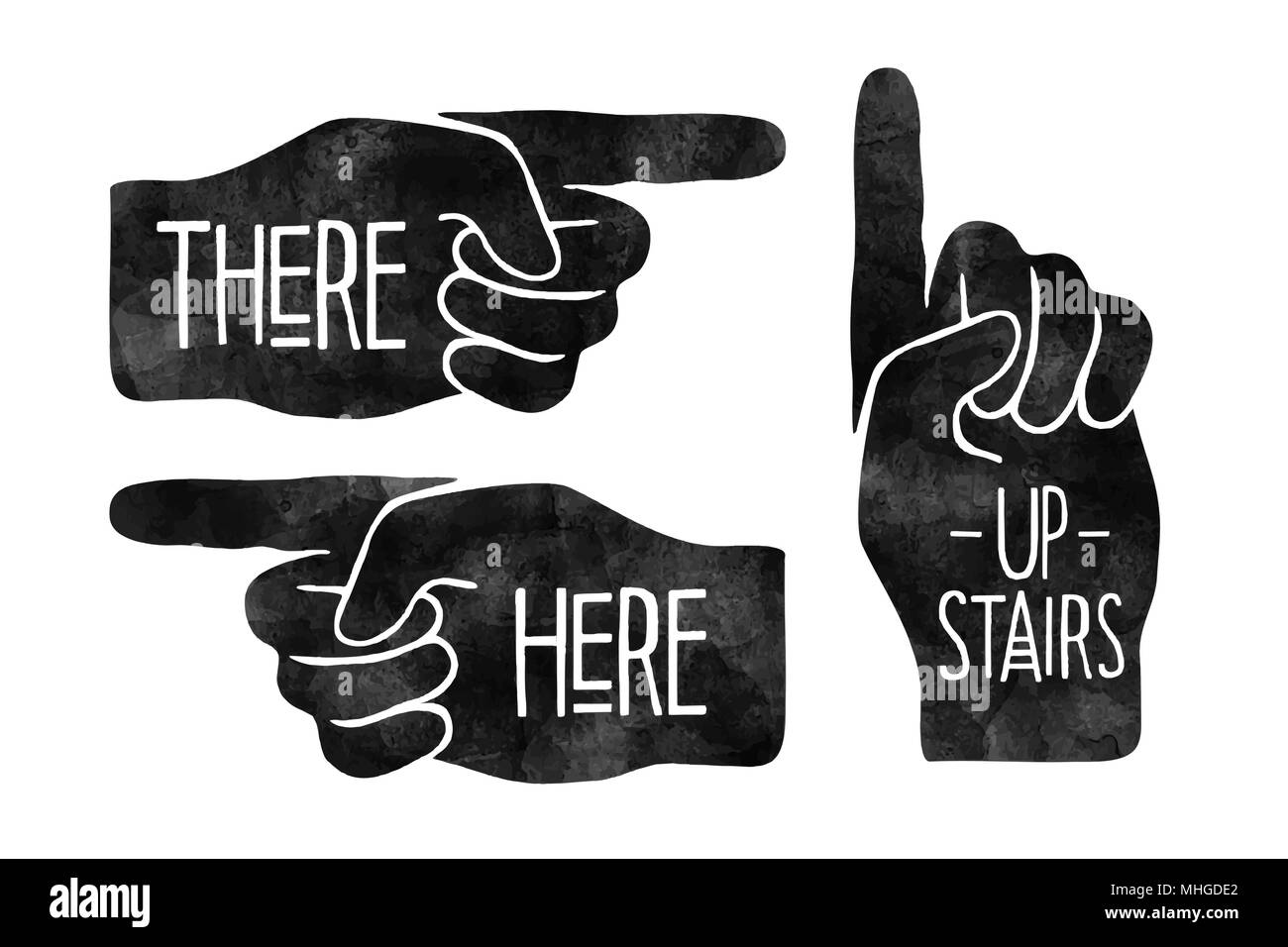 Navigation signs. Black hand silhouettes with pointing finger. Vector Illustration. - Stock Image