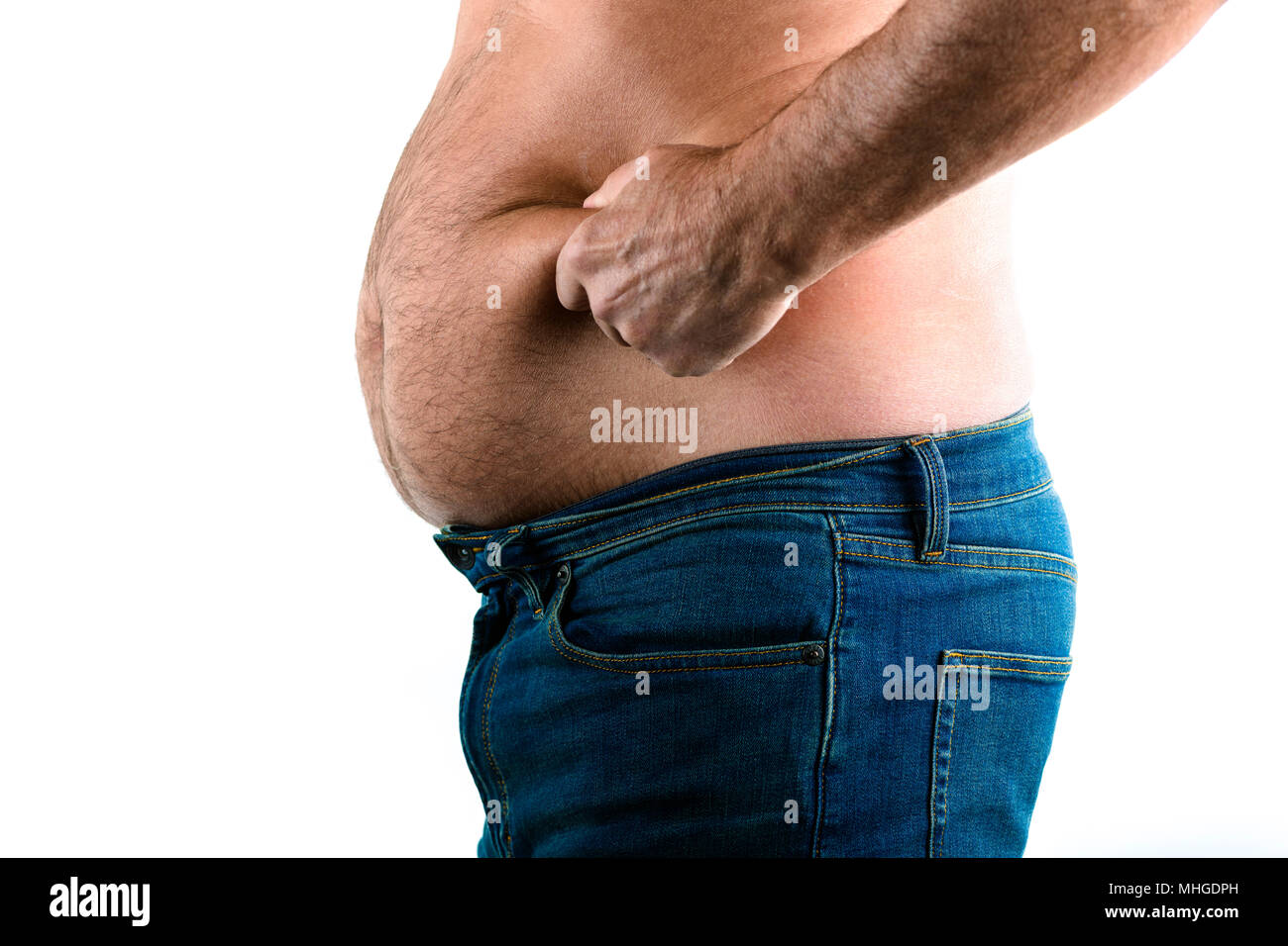 overweight older man with a paunch - Stock Image