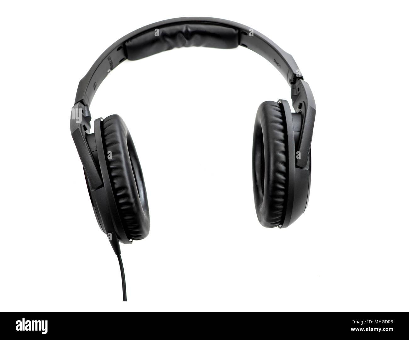 Headphones isolated on white background - Stock Image