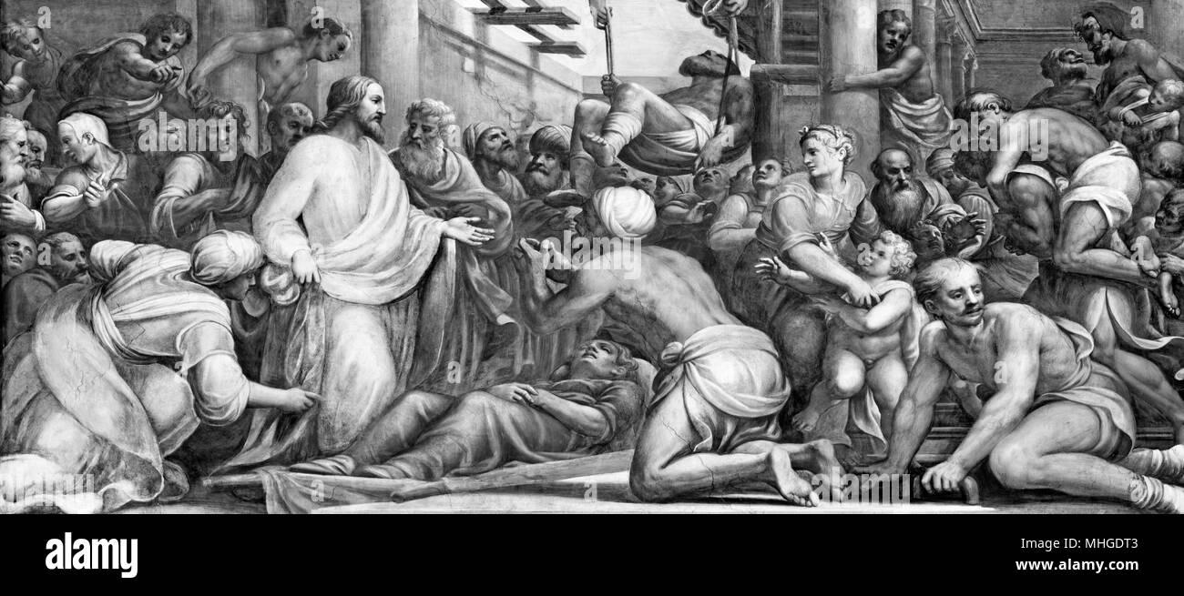 PARMA, ITALY - APRIL 16, 2018: The fresco Jesus at the healing  in Duomo by Lattanzio Gambara (1567 - 1573). - Stock Image