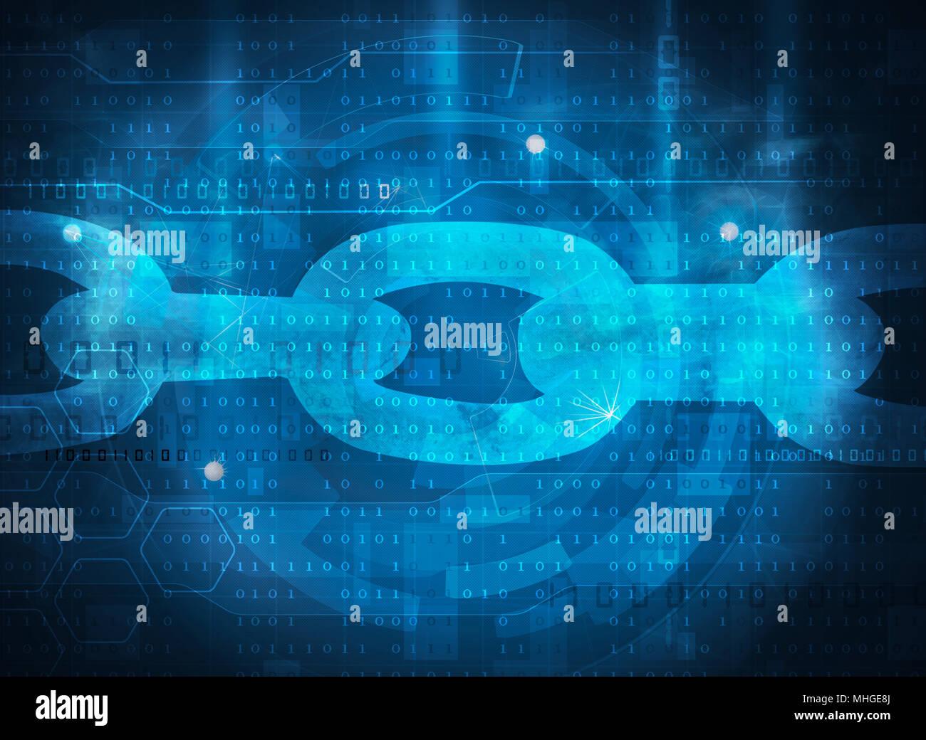 blockchain technology concept blue background - Stock Image