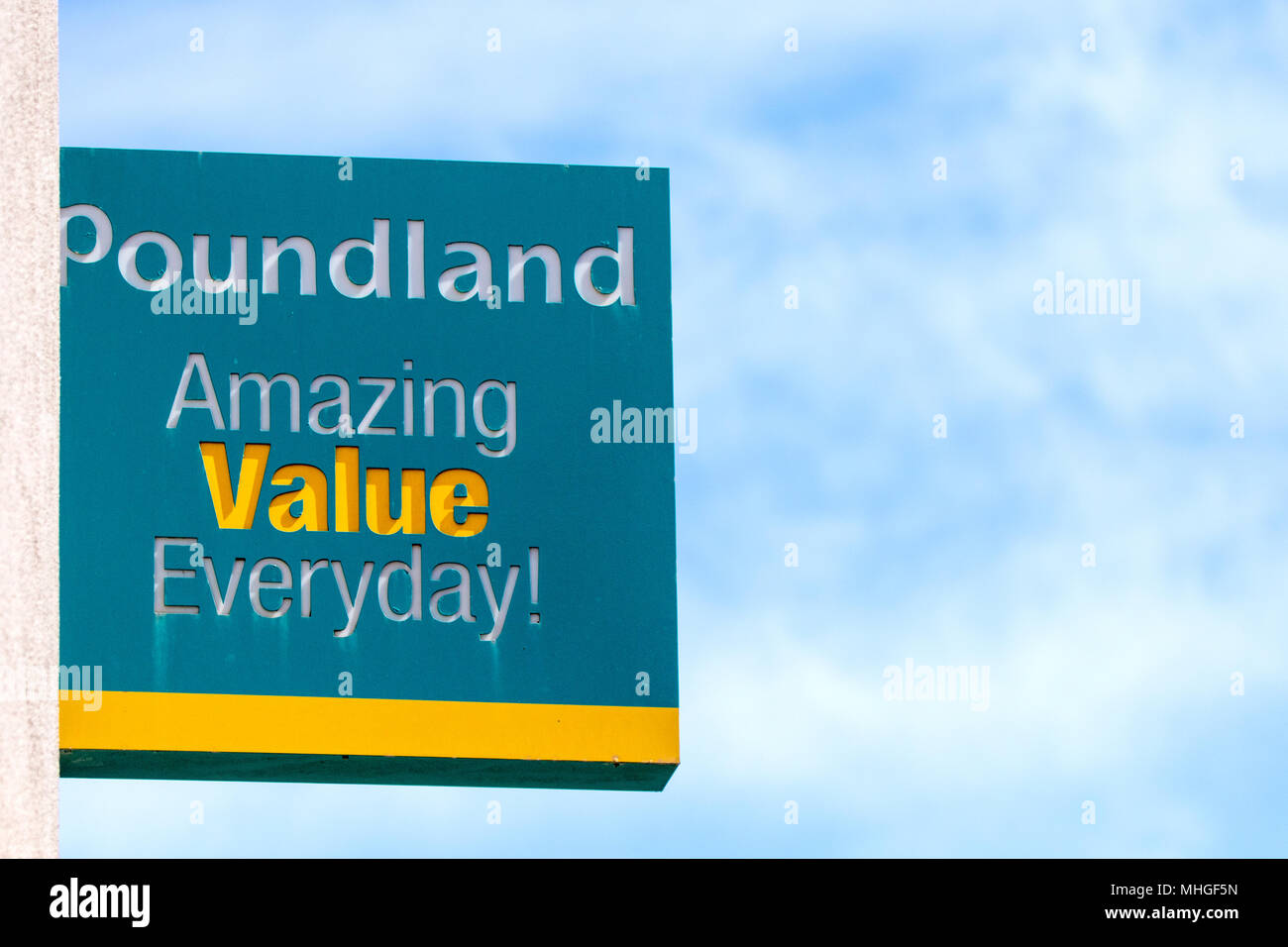 high street retail chain Poundland discount store signs - Stock Image