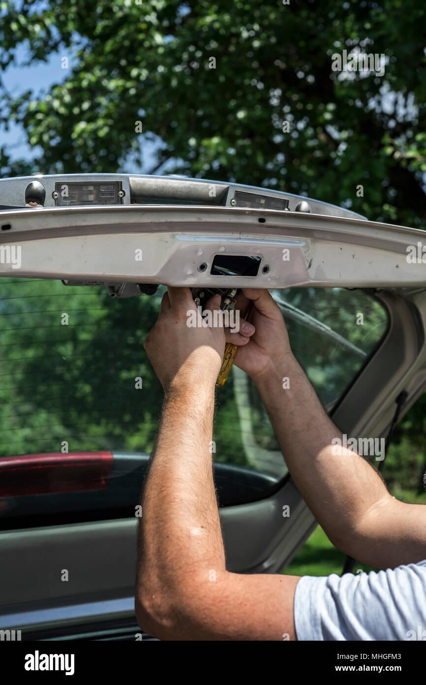 Car Door Handle Repair Stock Photos Diagram Man Hands Trunk Locks Mechanic Image