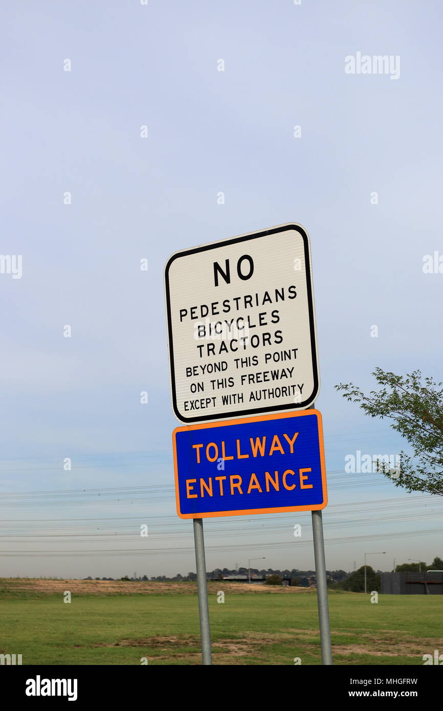 No Pedestrians, Bicycles, Tractors on Melbourne Freeway - Stock Image