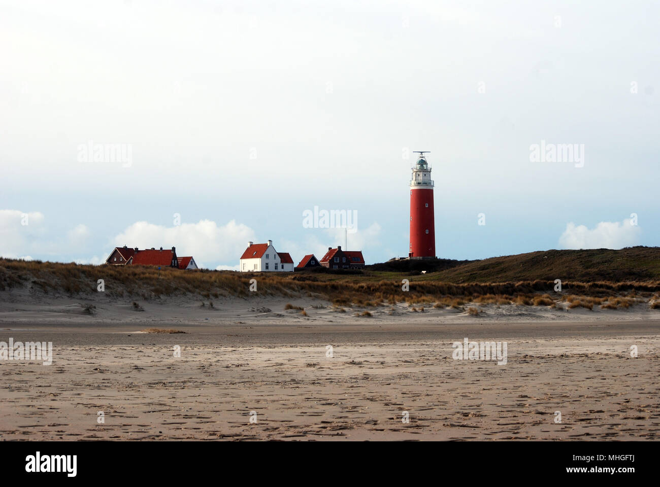 Lighthouse at isle Texel, Holland Europe. Vuurtoren Stock Photo