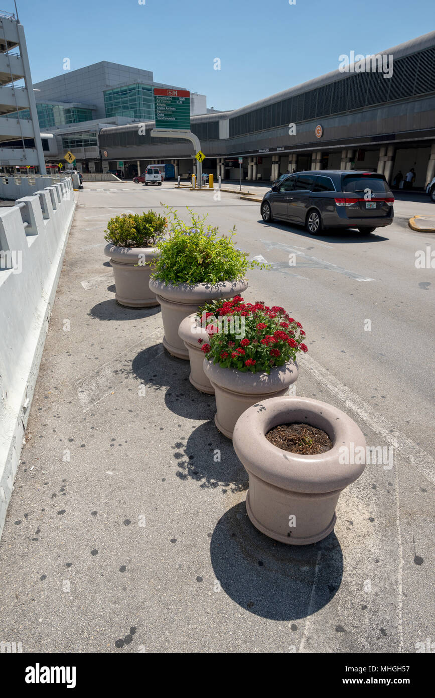 Potted plants outside the terminal at Miami International Airport in Miami, Florida. - Stock Image