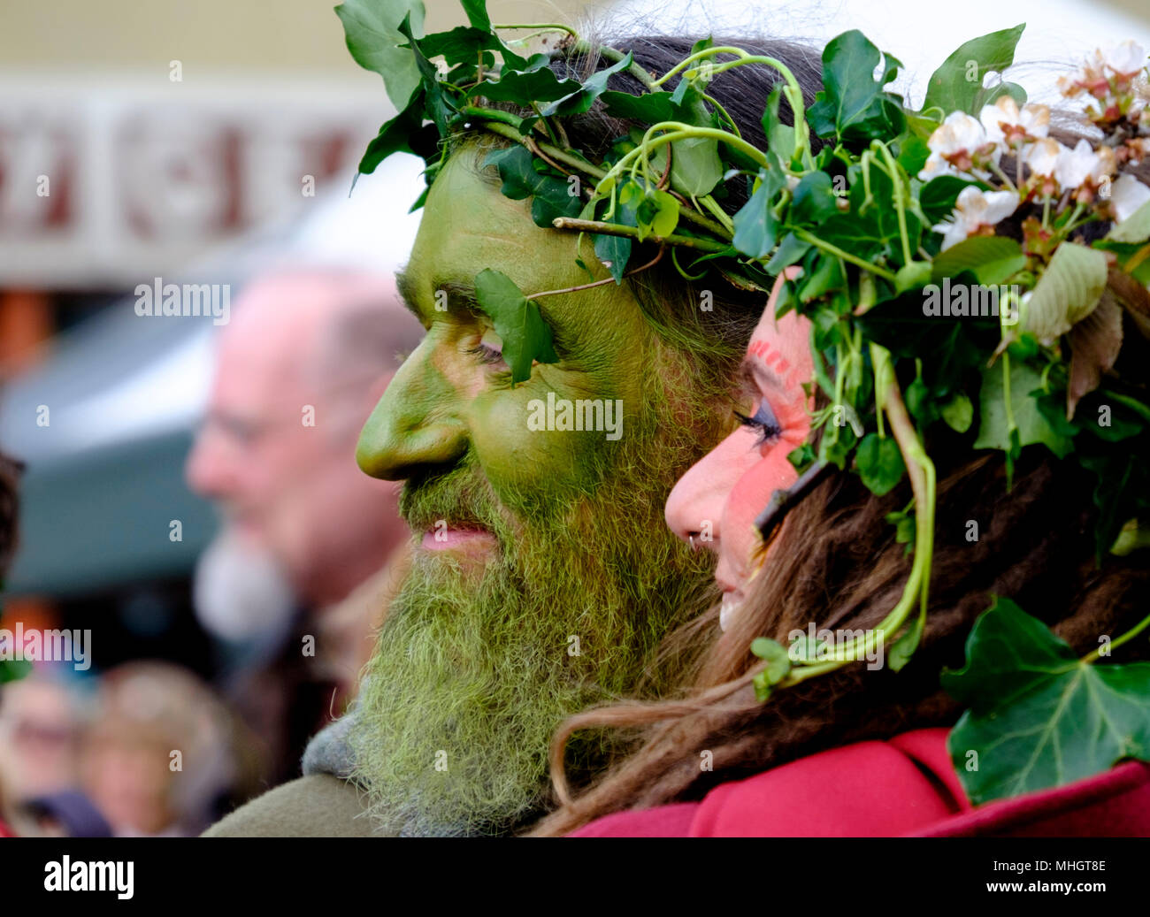Glastonbury,UK. 1st May 2018.  Pagans and other celebrants of the Beltane festival gather in the streets of Glastonbury on the first day of May 2018.  The festival has pre christian roots and welcomes in the summer. ©JMF News / Alamy Live News - Stock Image