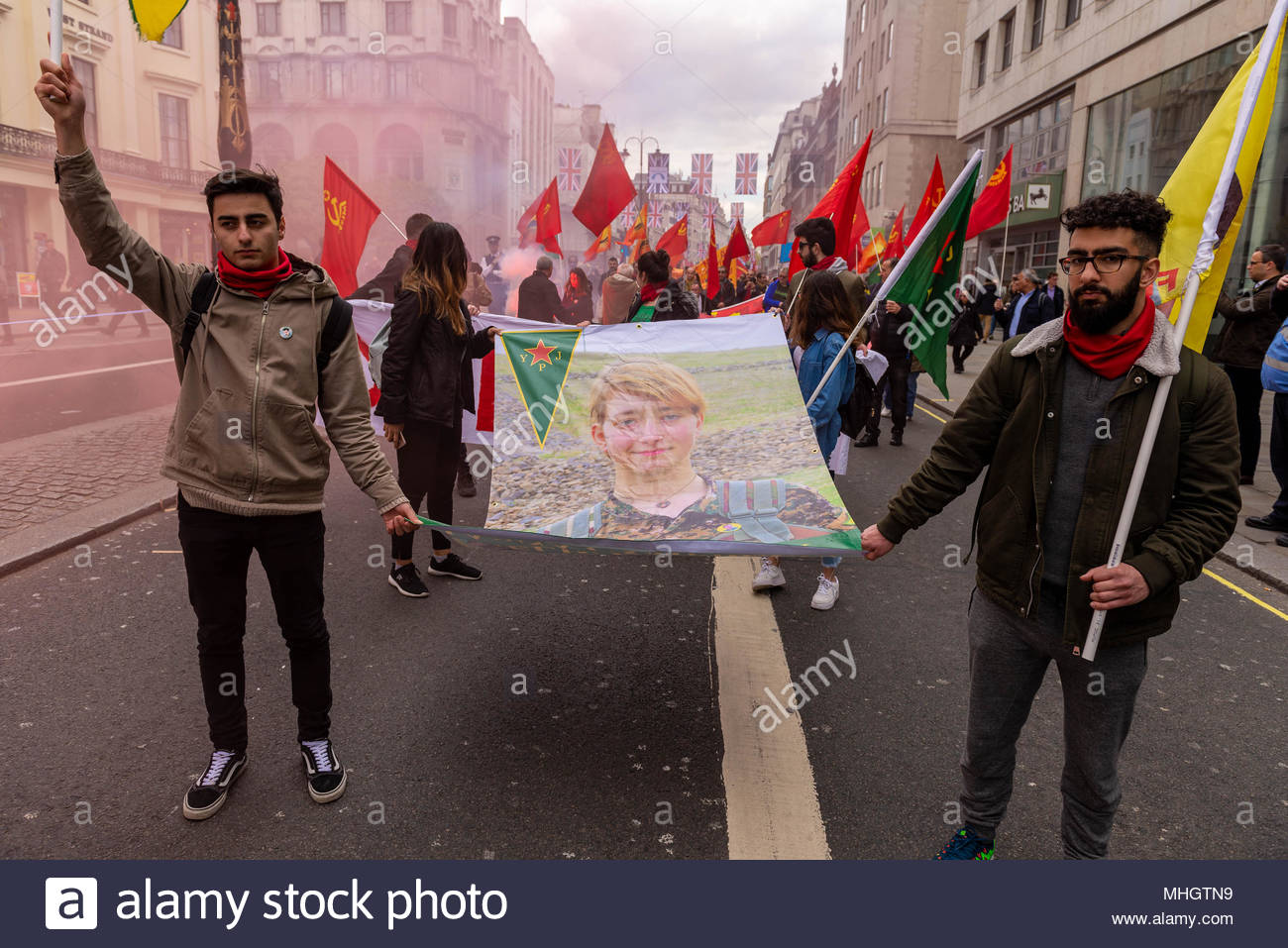 London, UK. 1st may 2018. Communists, socialists and trade unionists gather at Clerkenwell Green before their annual  International Workers Day march to Trafalgar Square ©2018 London, Great Britain. Dave Nash/Alamy Live News - Stock Image