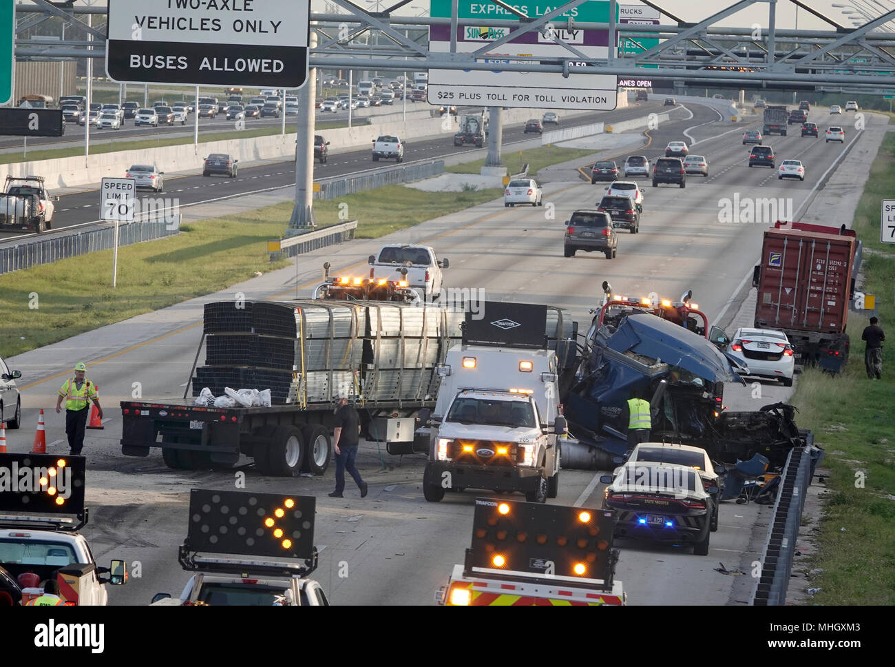 Davie, FL, USA  1st May, 2018  A jackknifed truck crash in