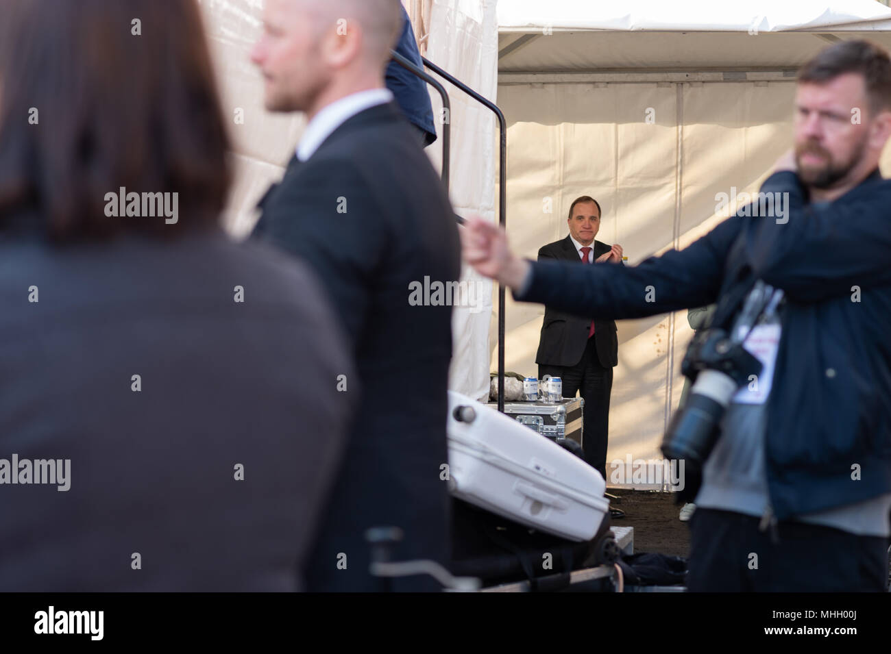 Stockholm, Sweden, 1st May, 2018. First May demonstration in Stockholm. PM Stefan Lofvén. Credit: Barbro Bergfeldt/Alamy Live News - Stock Image