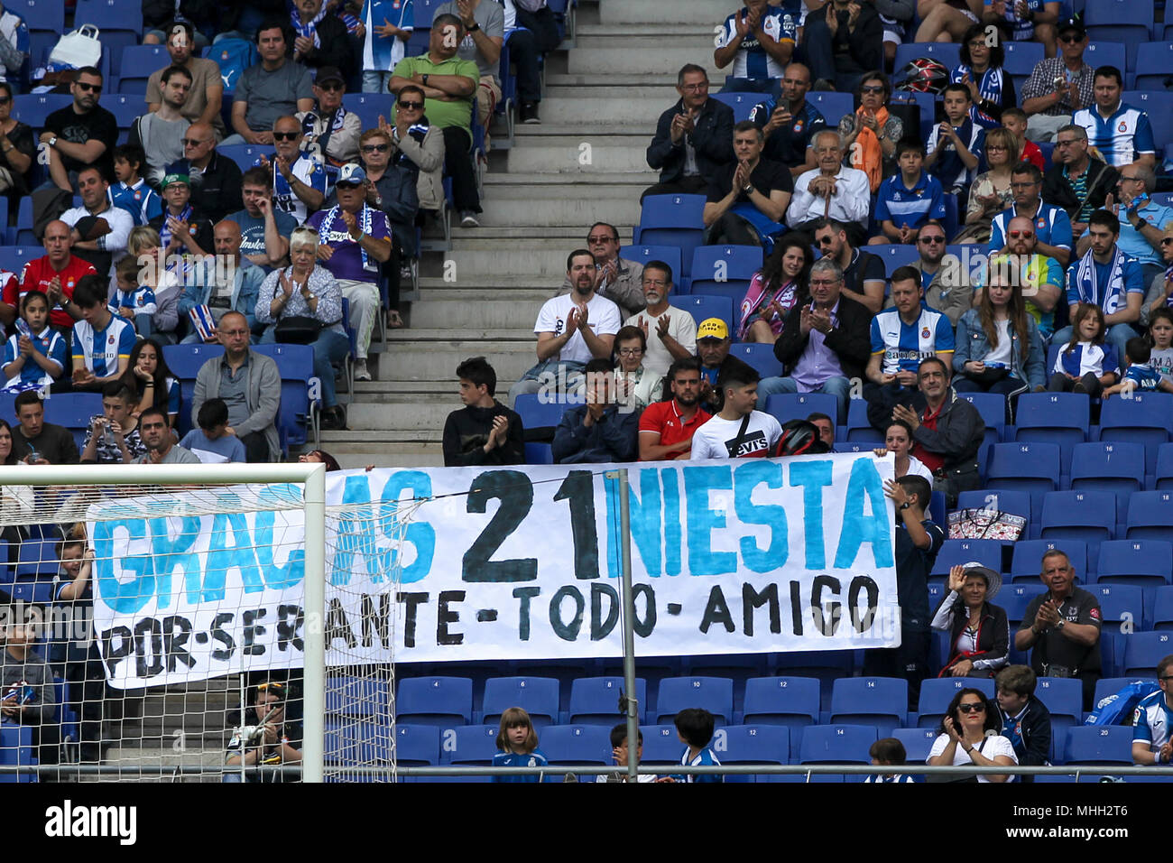 28th April 2018, Cornella-El Prat, Cornella de Llobregat, Barcelona, Spain; La Liga football, Espanyol versus Las Palmas; Banner to thank FC Barcelona player Andres Iniesta for his career Stock Photo