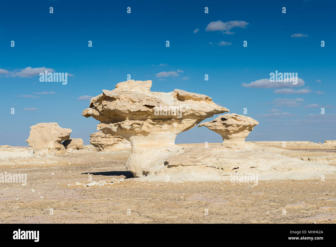 Mushroom rock formations at the Western White Desert of Egypt - Stock Image