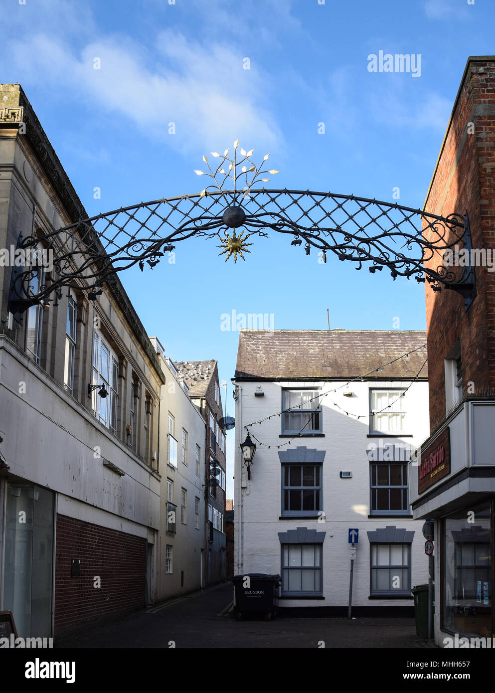 Banbury, England - November 29 2017:   A decorative archway over a a mews off the High Street - Stock Image