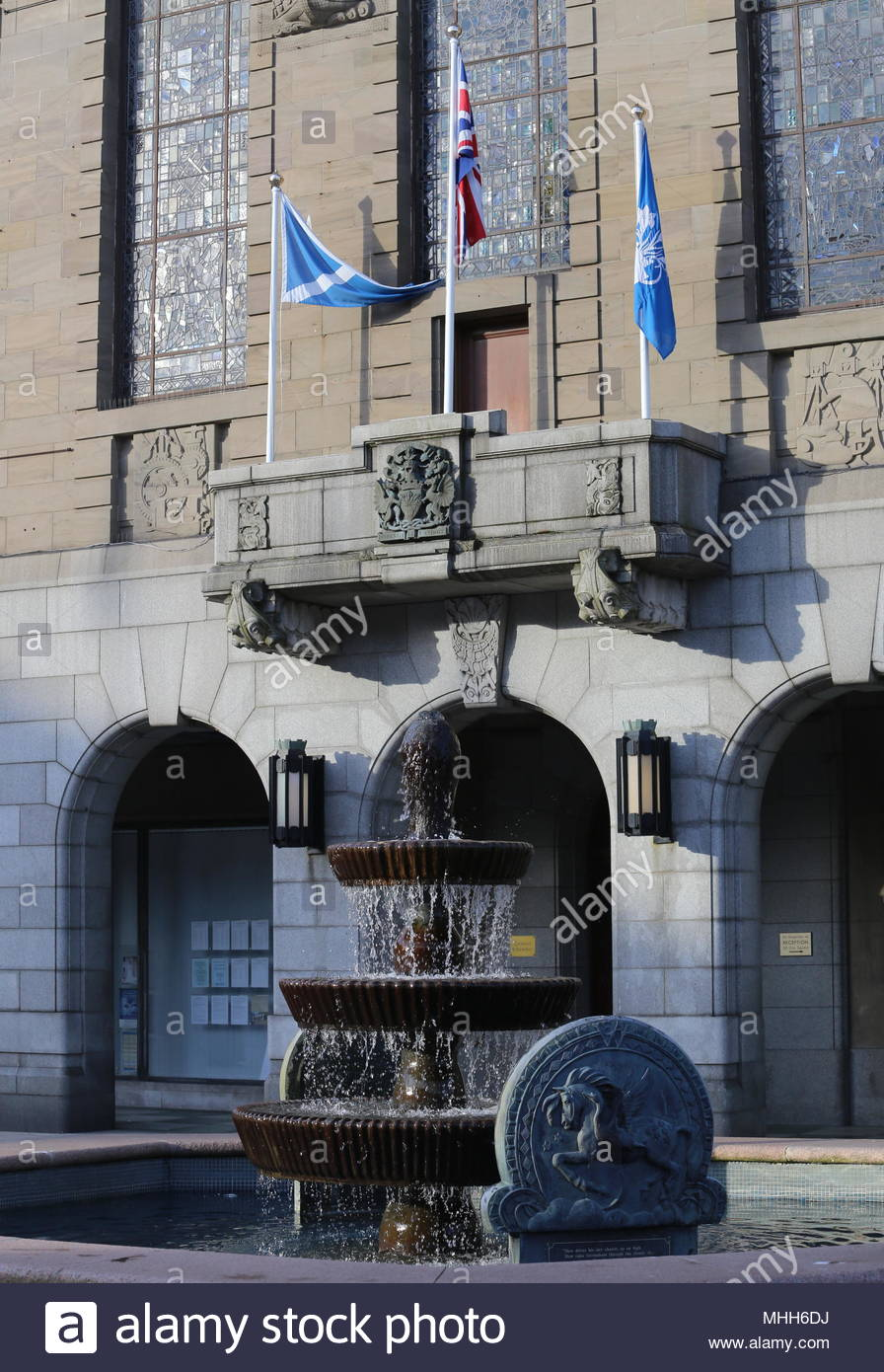 Fountain and balcony of The Chambers of Commerce, City Square Dundee Scotland  April 2018 - Stock Image