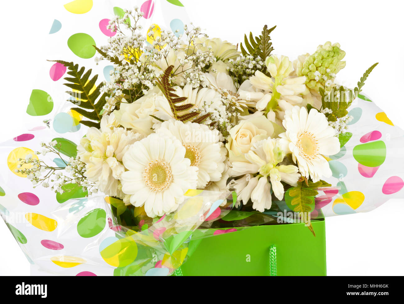 Coloured cellophane stock photos coloured cellophane stock images a lime green bag filled with cream coloured flowers stock image mightylinksfo