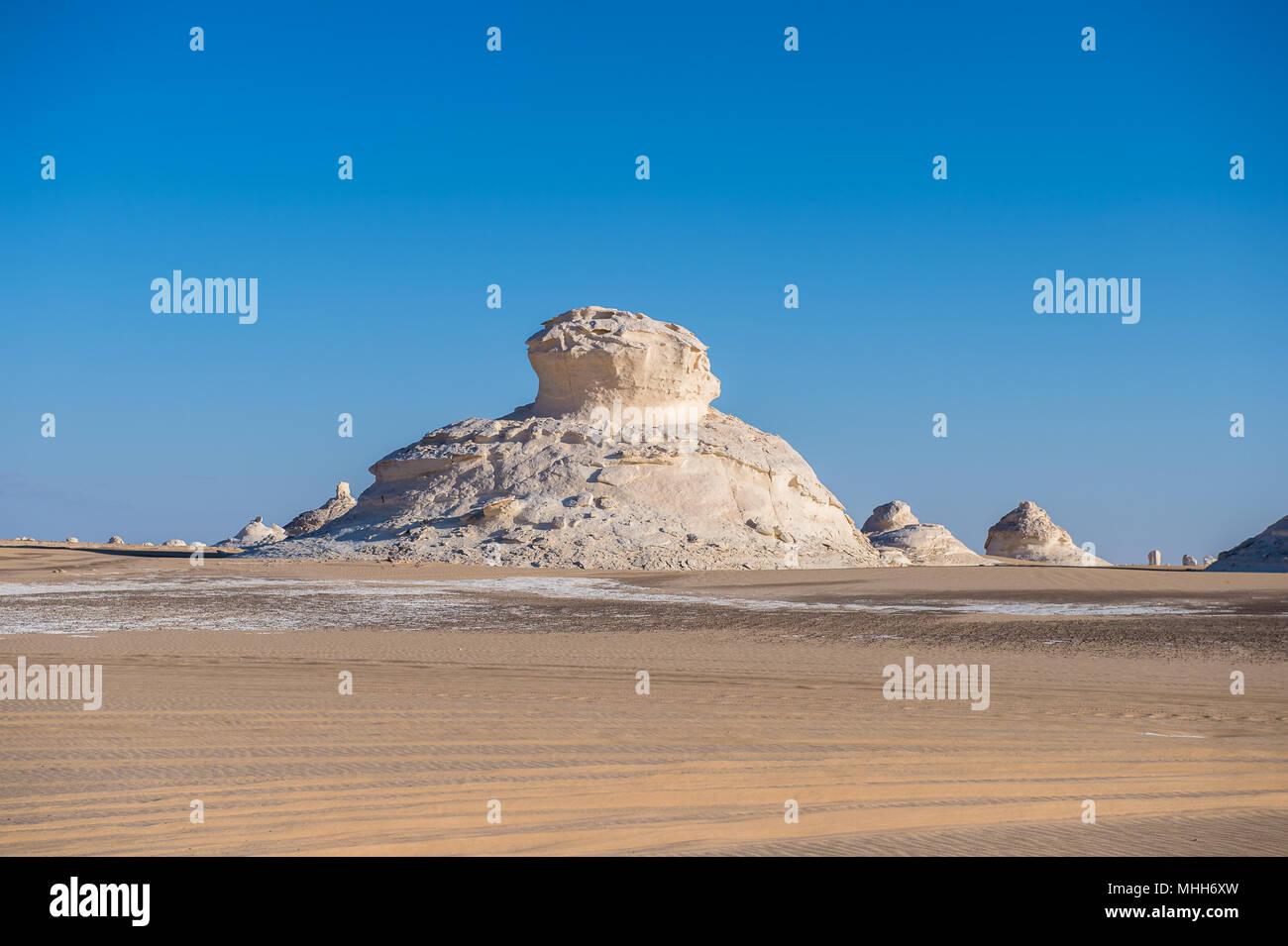 Surface White Desert National Park in Egypt - Stock Image