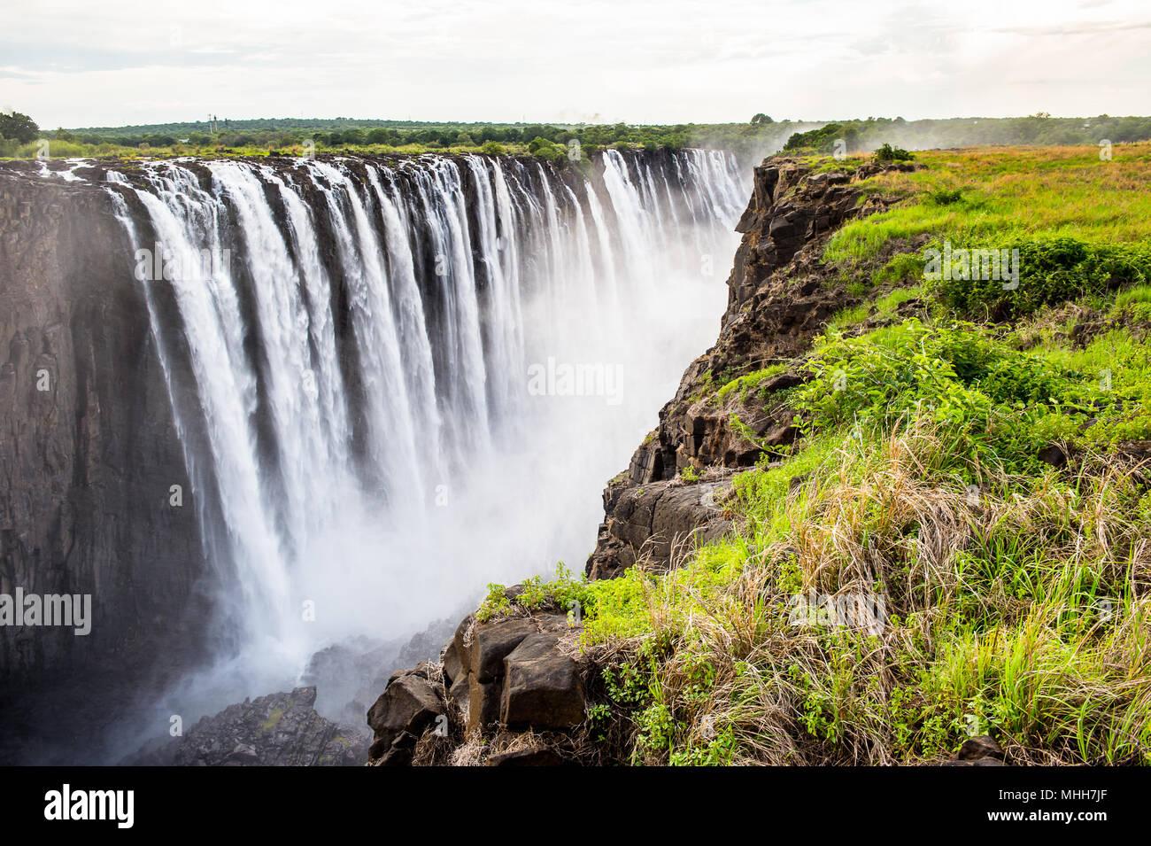 Amazing Victoria Falls, Zambezi River, Zimbabwe and Zambia - Stock Image