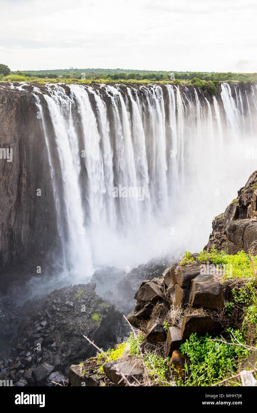 Amazing Victoria Falls, Zambezi River, Zimbabwe and Zambia Stock Photo