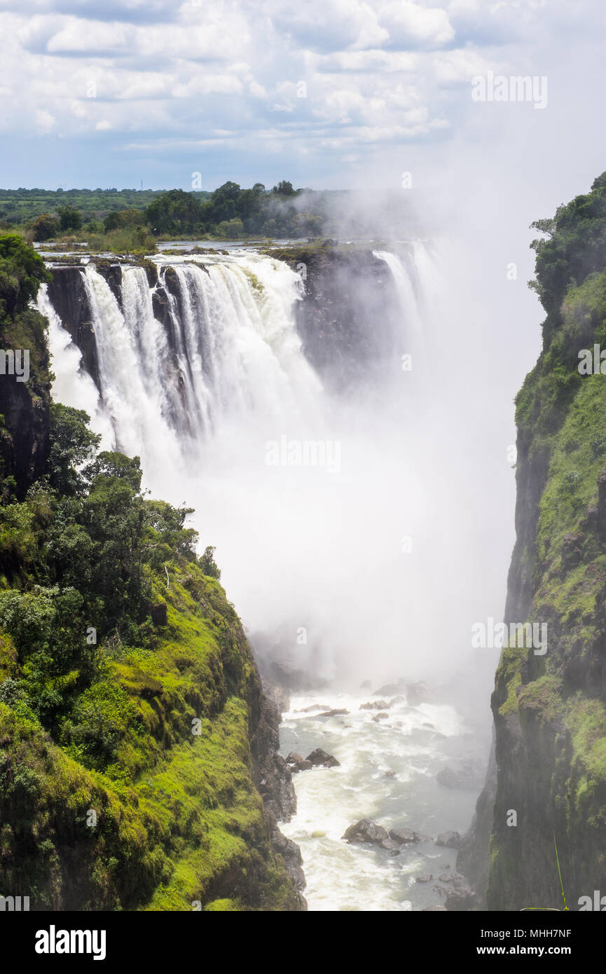 Victoria Falls, boarder of Zambia and Zimbabwe. UNESCO World Heritage - Stock Image