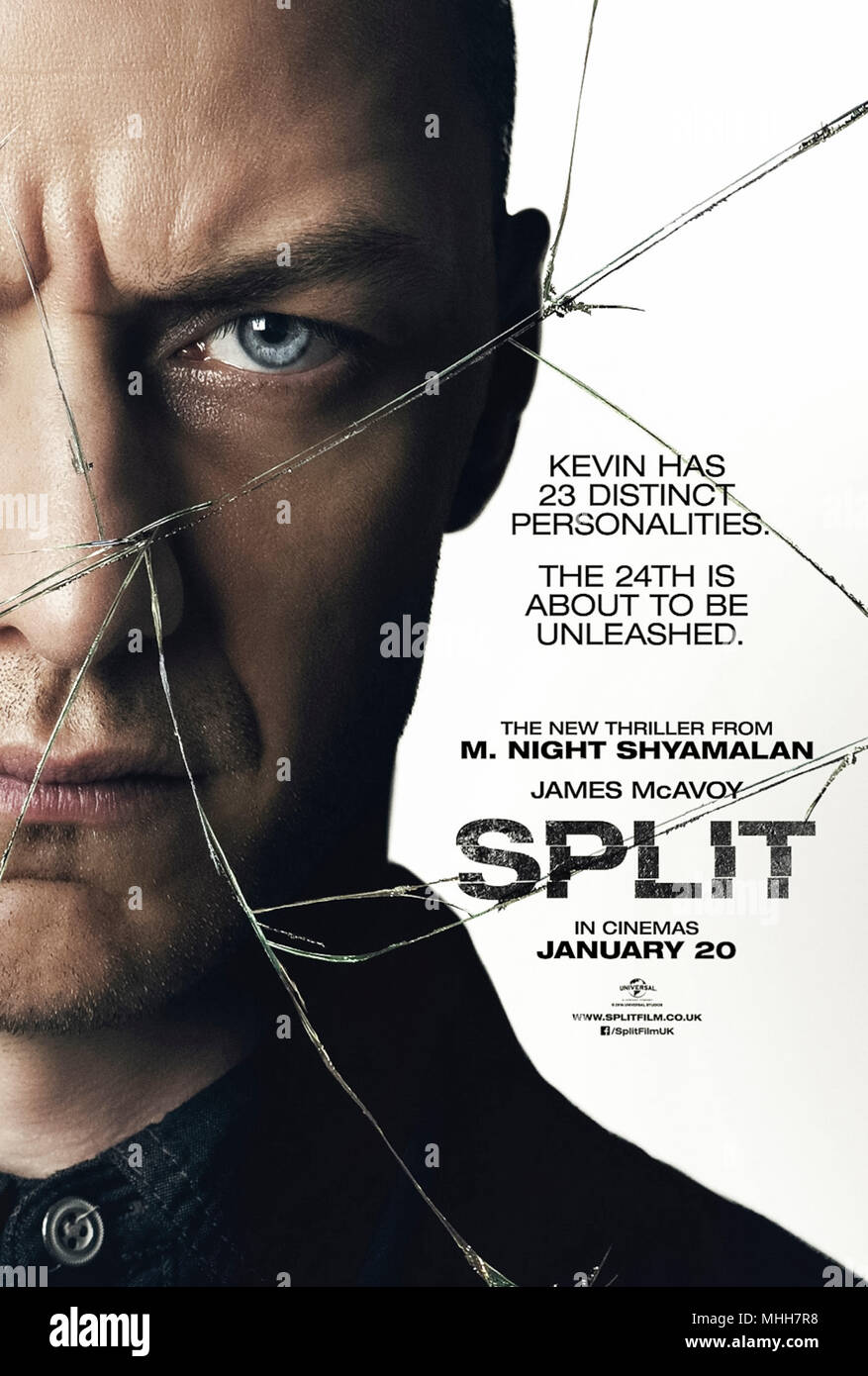 Split (2016) directed by M. Night Shyamalan and starring James McAvoy, Anya Taylor-Joy and Haley Lu Richardson. Three teenage girls are kidnapped by a man suffering from multiple personality disorder. - Stock Image