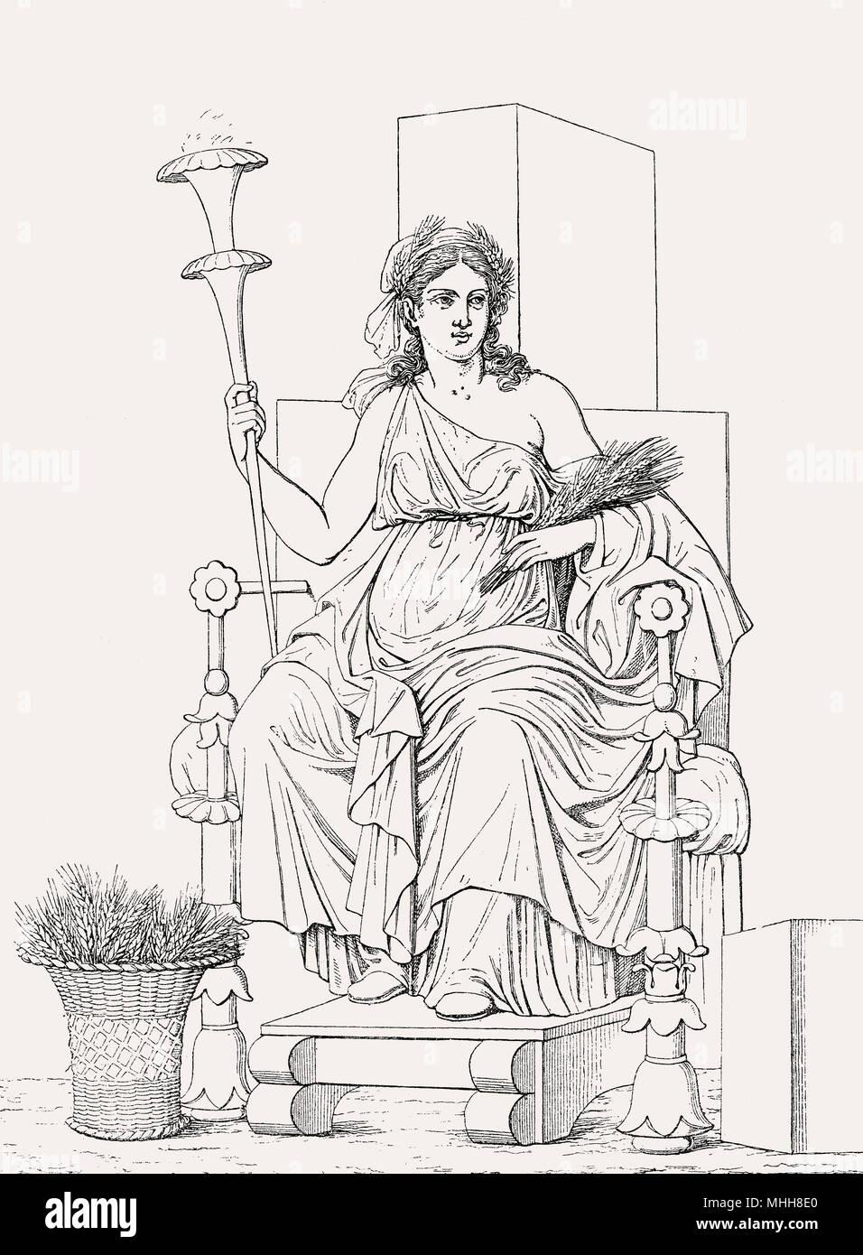 Demeter the goddess of the harvest and agriculture, Greek mythology - Stock Image