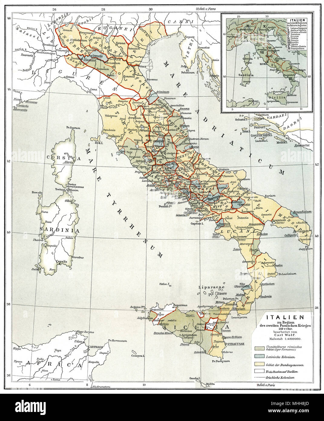 Historical map of Ancient Italy, c. 218 BC - Stock Image