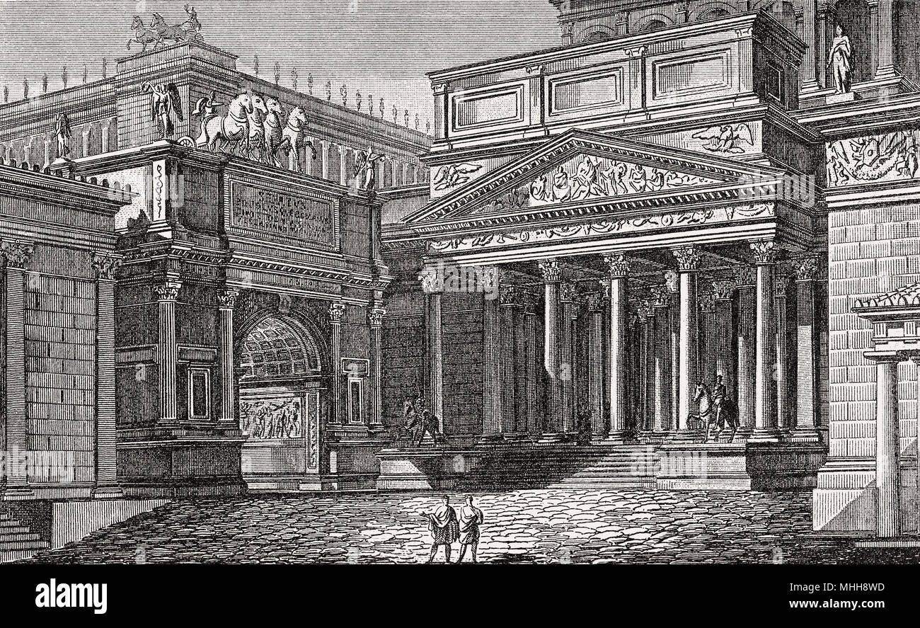 The Palace of Domitian Flavian Palace, Palatine Hill, ancient Rome, reconstruction - Stock Image
