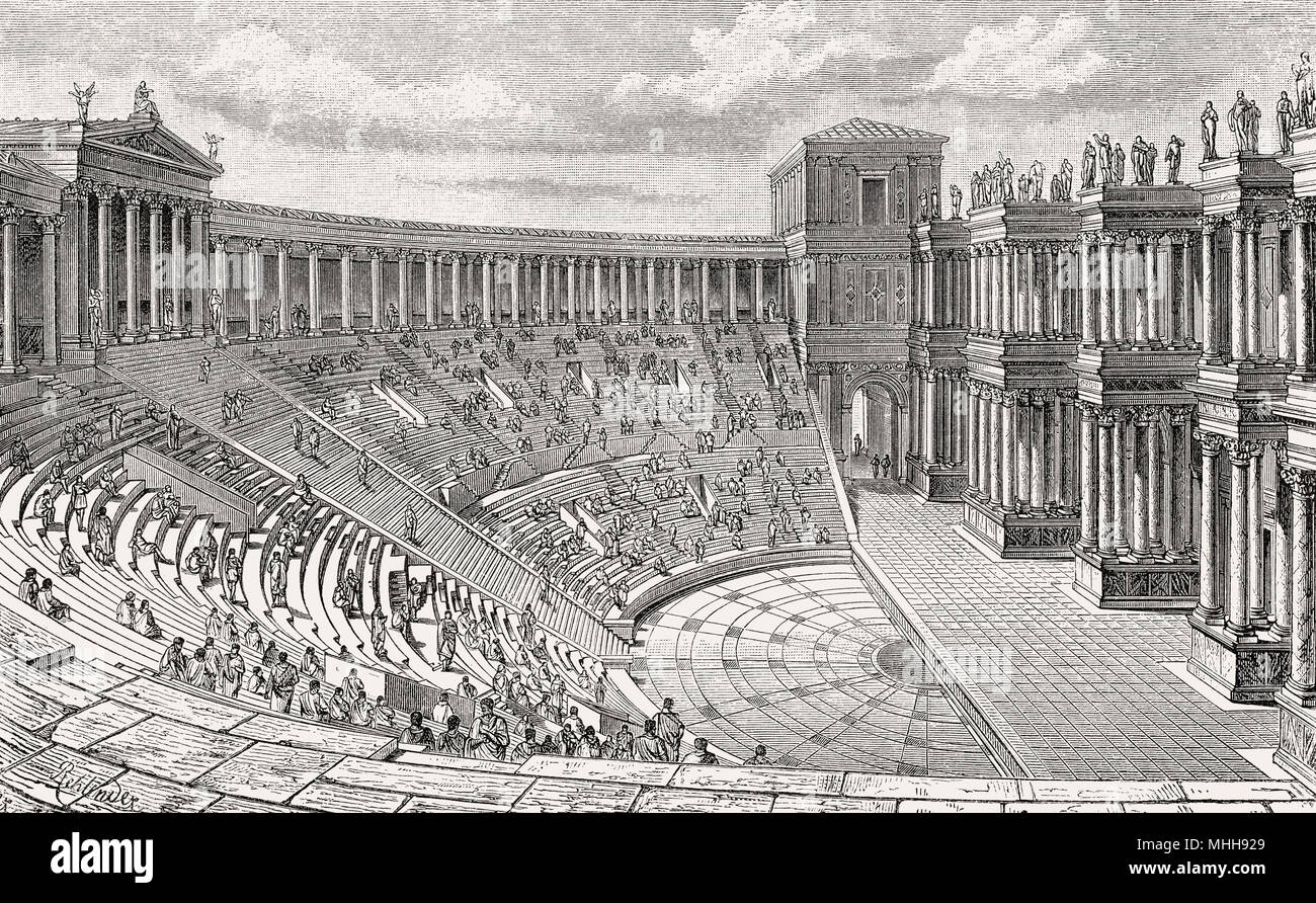 The Theatre of Pompey, Ancient Rome, Reconstruction Stock Photo