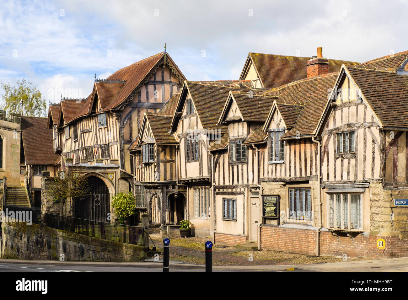 Medieval buildings of Lord Leyster Hospital. West Gate, Warwick, Warwickshire, West Midlands, England, UK, Great Britain - Stock Image