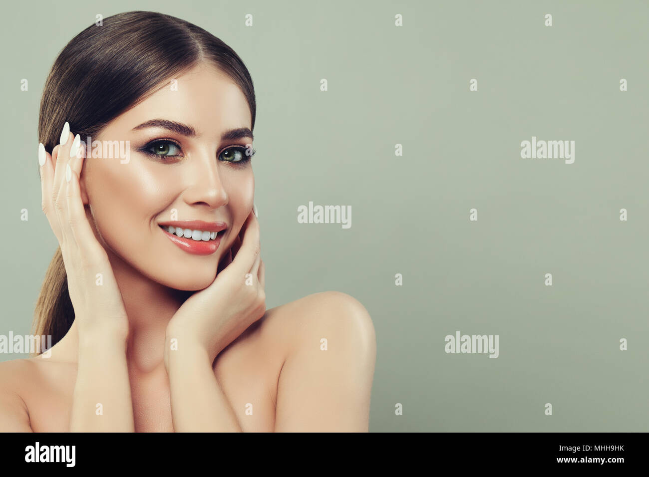 Spa Woman Smiling And Touching Her Hand Her Face On Banner Background With Copy Space For Text Spa Beauty Facial Treatment And Skin Care Concept Stock Photo Alamy