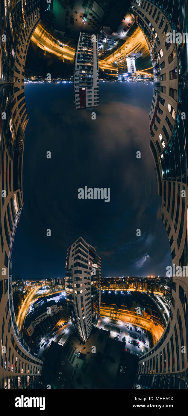 Night Riga 360 VR Drone picture for Virtual reality, Panorama - Stock Image