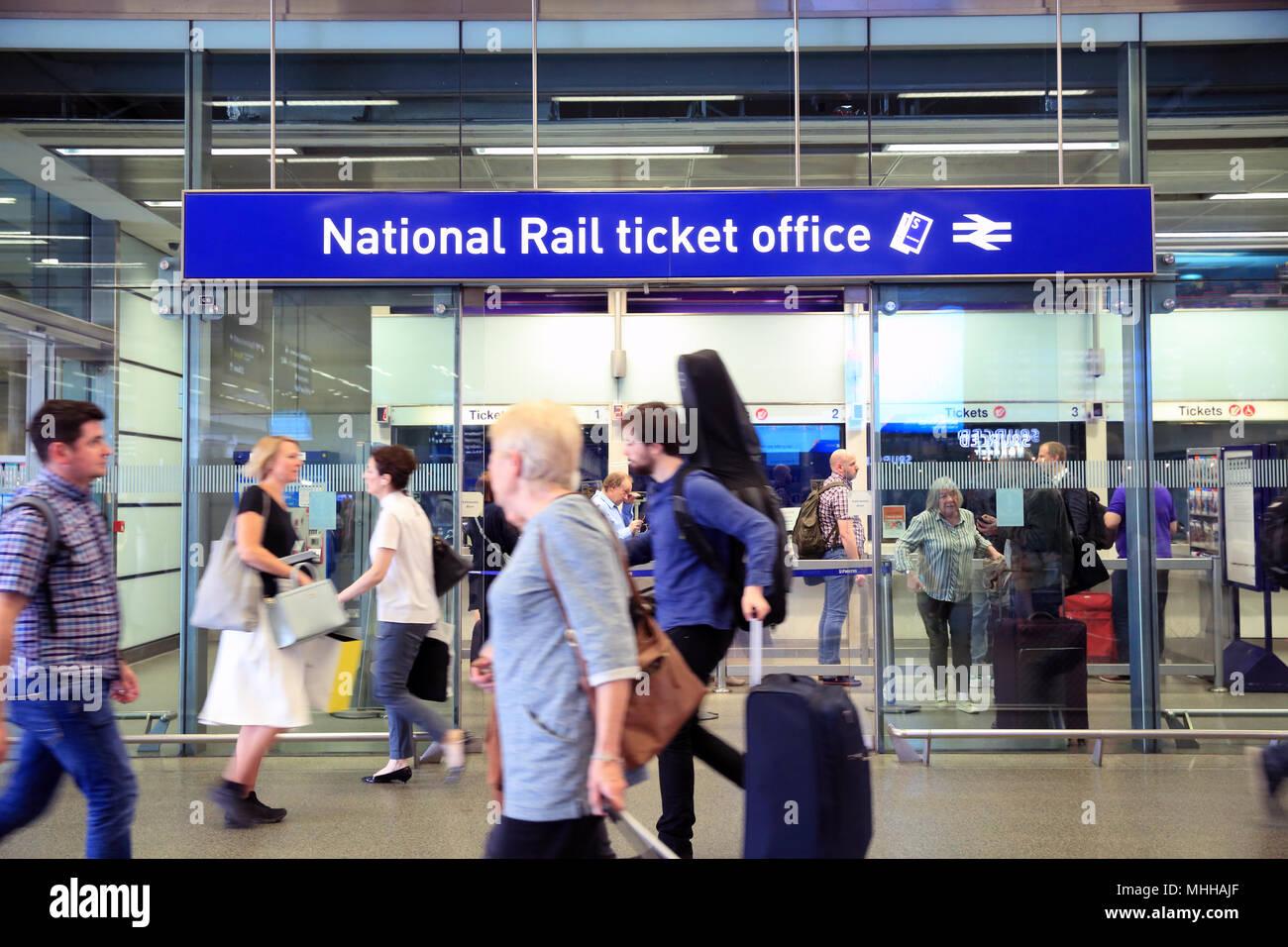 National Rail Ticket Office at St Pancras train station, London, UK - Stock Image