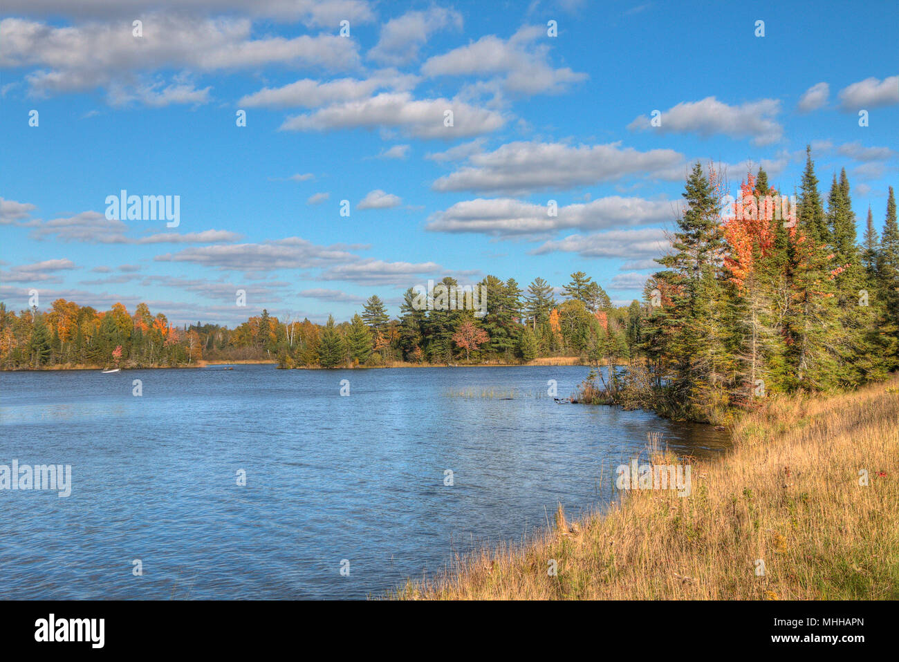 boulder lake in autumn north of duluth minnesota stock photo