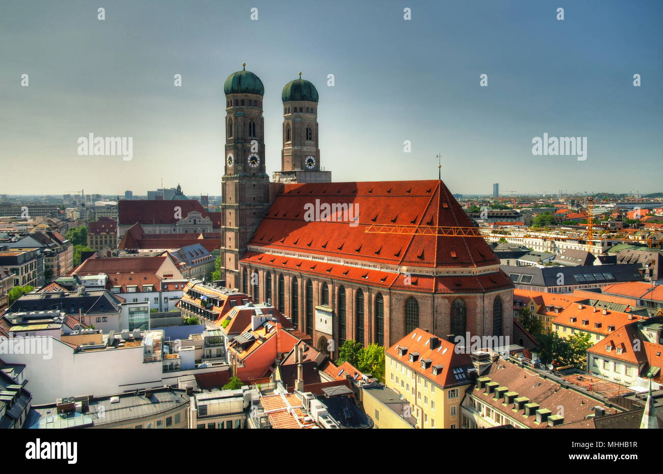 Aerial view to Frauenkirche church Munich, Germany - Stock Image