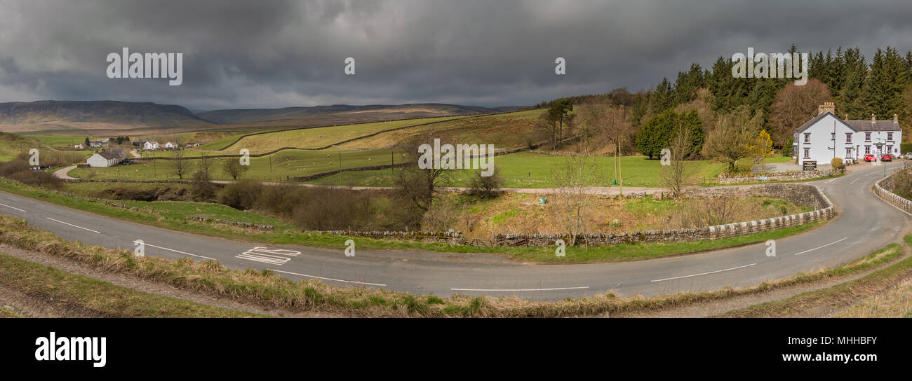North Pennines panoramic landscape, towards Cronkley Scar and Widdybank Fell from Langdon Beck, Teesdale, UK - Stock Image