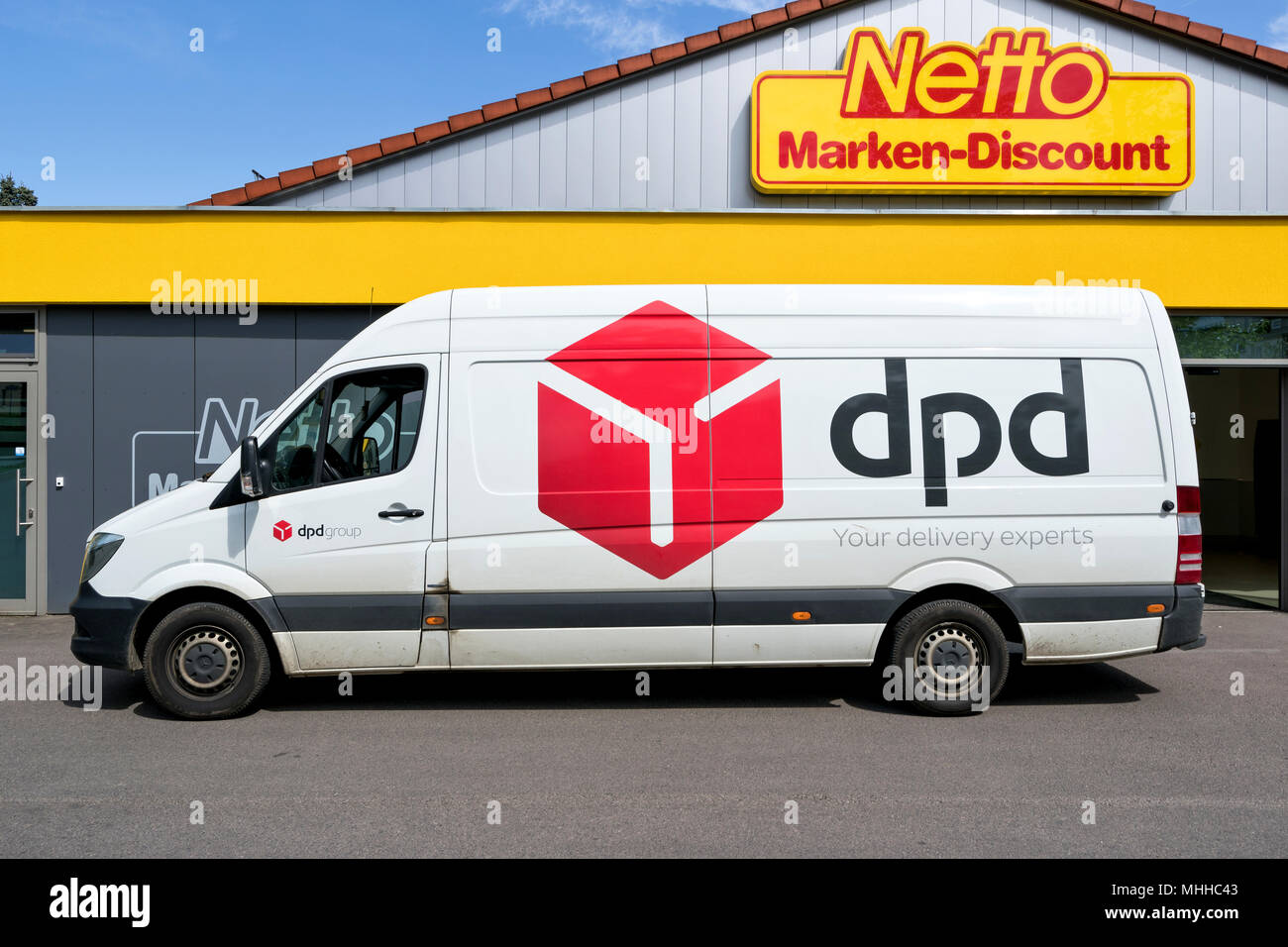 a529e32eb1f6c0 dpd delivery van at Netto discount store. DPDgroup is the international  parcel delivery network of French state owned postal service