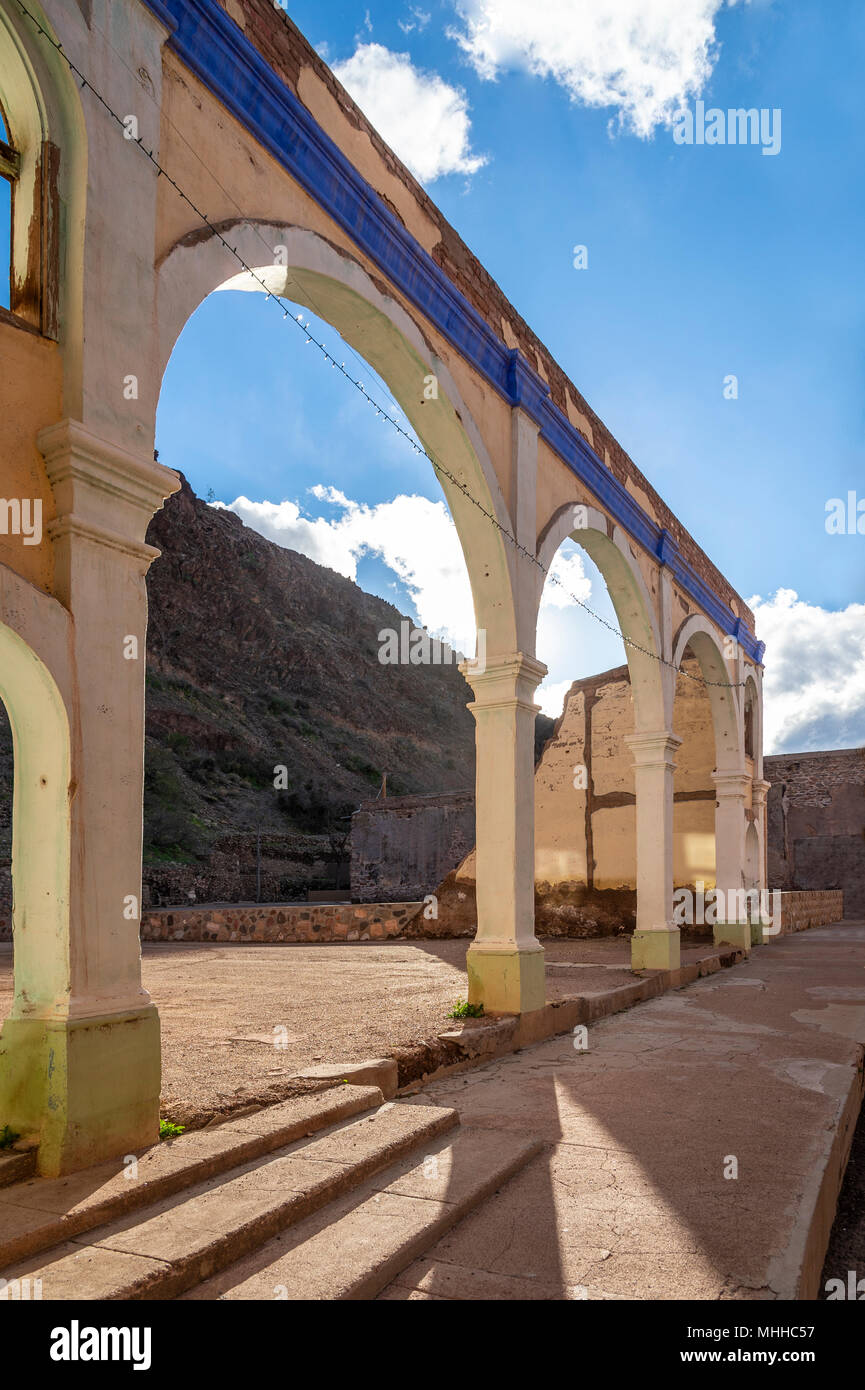 Old Exterior Decaying Building Arch, Clifton, Arizona, USA - Stock Image