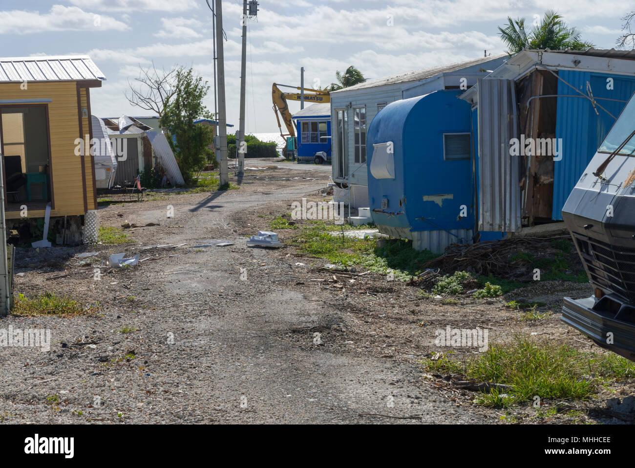 Trailer Park Storm Damage, Florida Keys, USA Stock Photo