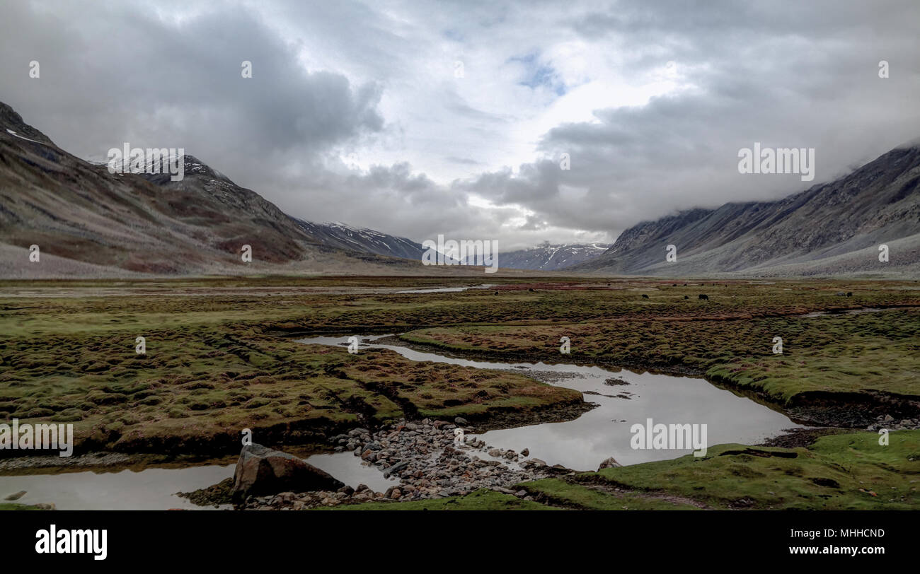 Panorama of Yasin river and Valley, Gilgit-Baltistan Province, Pakistan - Stock Image