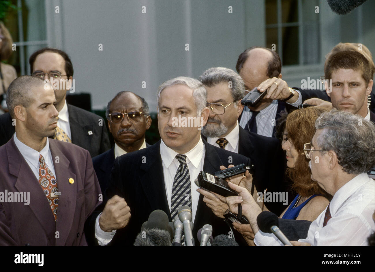Washington, DC. USA, 9th July 1996  Israeli Prime Minister Benjamin Netanyahu speaks with reporters in the West Wing driveway of the White House during his visit to meet with President William Clinton. Benjamin 'Bibi' Netanyahu is the current Prime Minister of Israel. He also currently serves as a member of the Knesset and Chairman of the Likud party. Born in Tel Aviv to secular Jewish parents, Netanyahu is the first Israeli prime minister born in Israel after the establishment of the state. - Stock Image