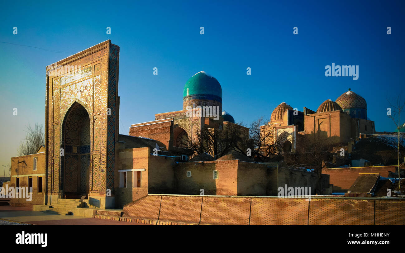 Exterior view to Shah-i-Zinda necropolis in Samarkand in Usbekistan Stock Photo