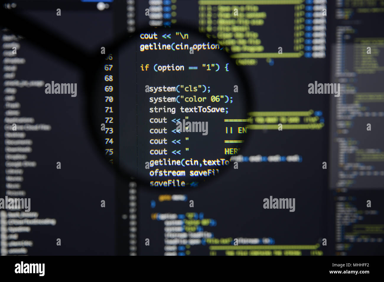 Real c / c++ code developing screen  Programing workflow abstract
