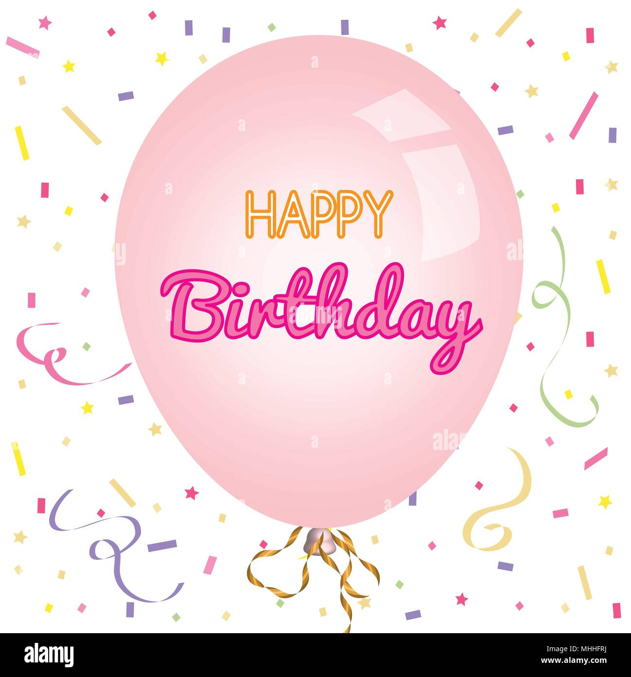 Happy Birthday Greeting Card And Party Invitation Template