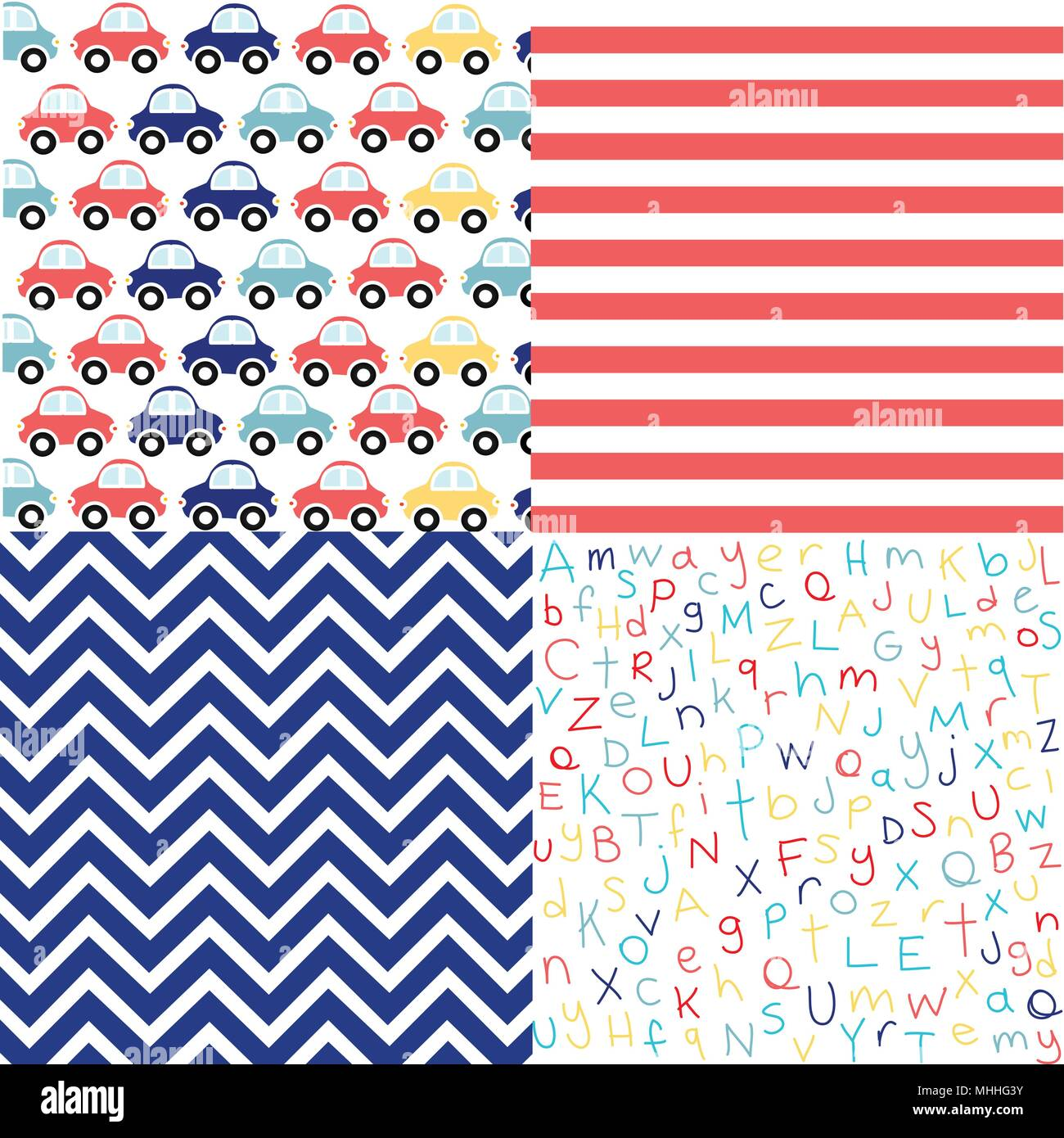 8f38dbfac132 Cute set of Baby Boy seamless patterns with fabric textures Stock ...