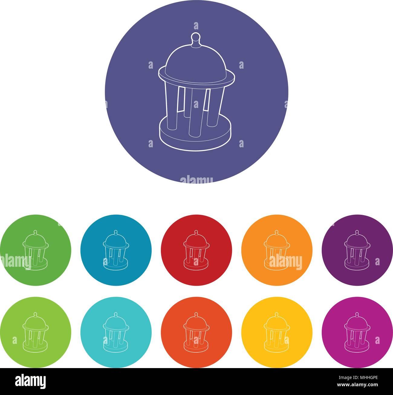 Rotunda icon, outline style - Stock Vector