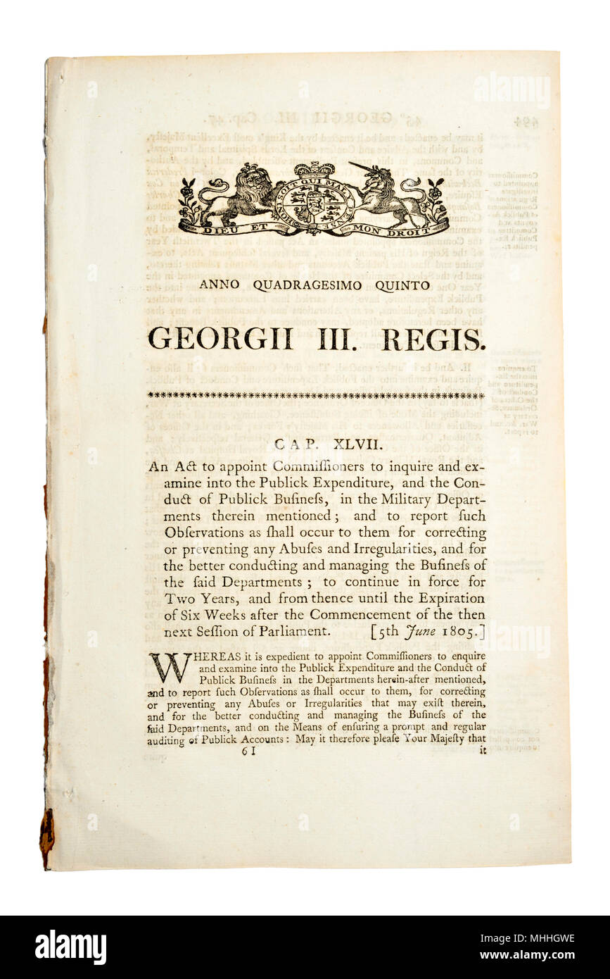 Original Act of Parliament document from 1805 (George III) 'to appoint Comissioners to inquire and examine into the Publick Expenditure' in the Milita - Stock Image